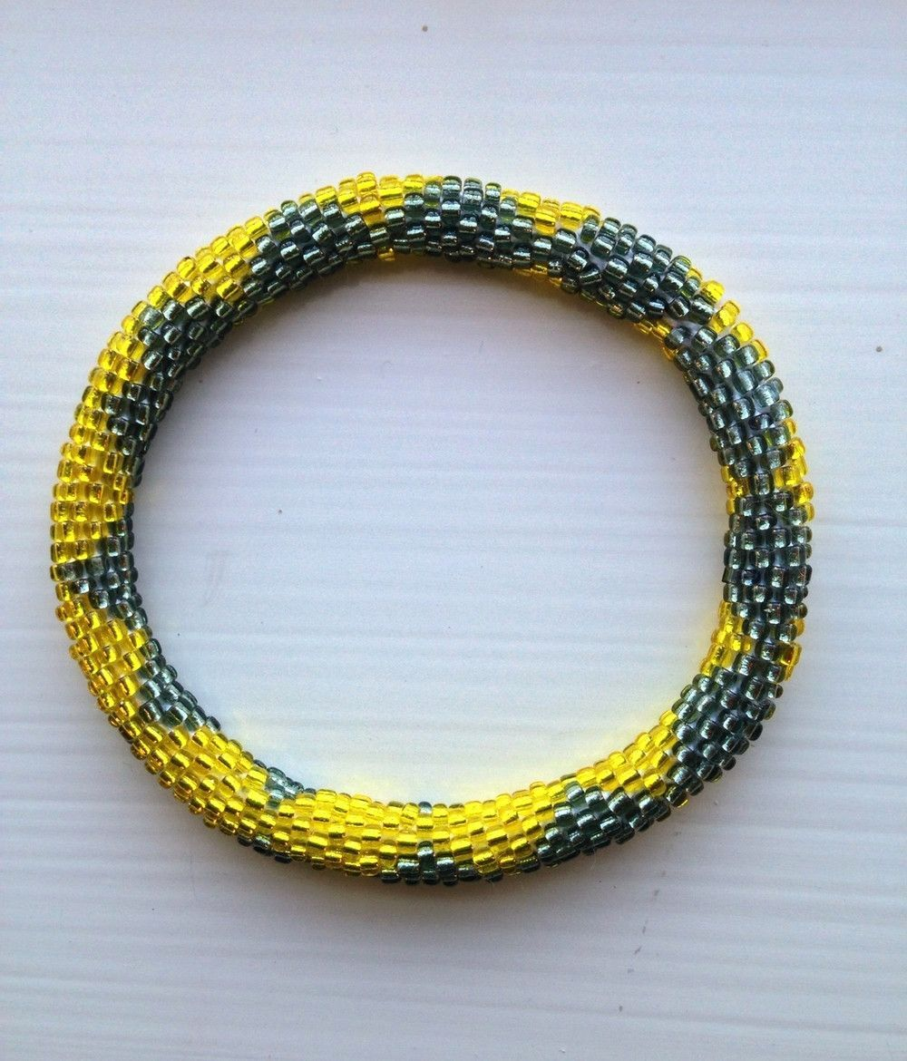 Tunique Yellow and Grey Glass Bead Bracelets