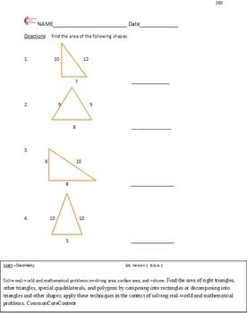Geometry Sixth Grade Common Core Math Worksheets All Standards