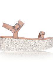 Metallic-trimmed faux leather platform sandals