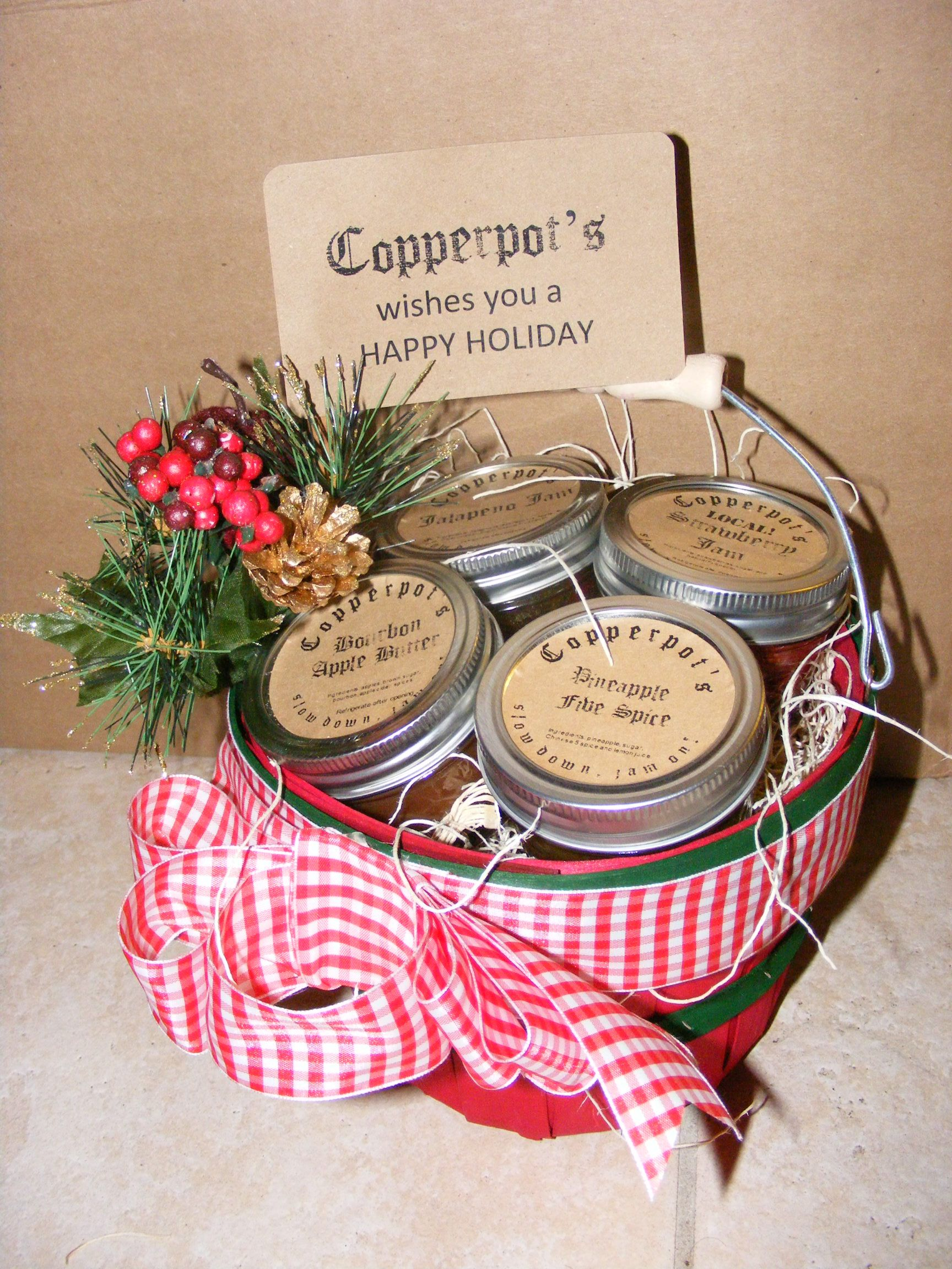 Copperpots homemade jam gift basket copperpots pinterest copperpots homemade jam gift basket creative gift basketscreative giftschristmas basketsneighbor negle Images