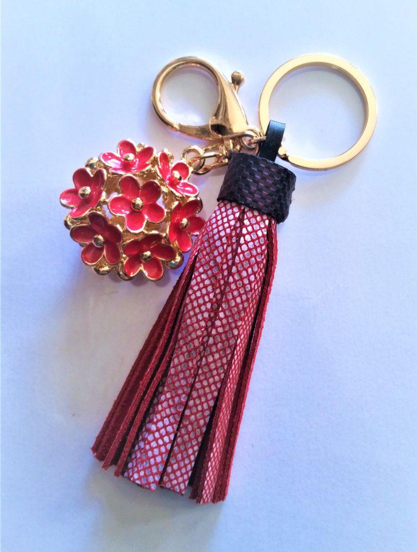 Keychain, Leather Tassel, Leather Tassel Keychain, Leather Key Fob, Purse Keychain, Unique Keychain, Tassel Keychain, Mix Color Tassel, Gift by FrolicAndDesign on Etsy