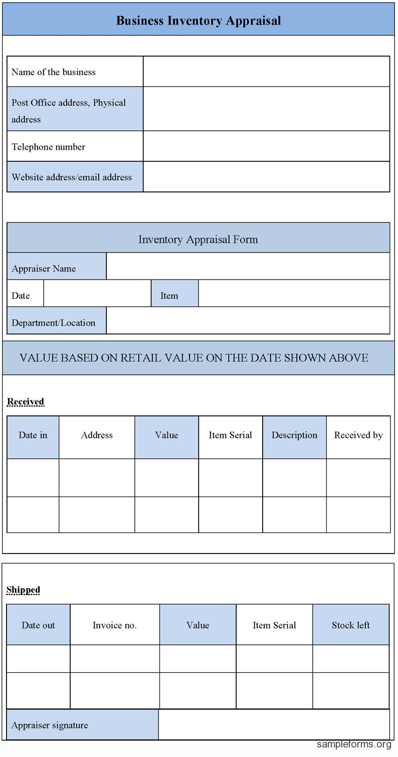 Business Inventory Appraisal Form Business Appraisal