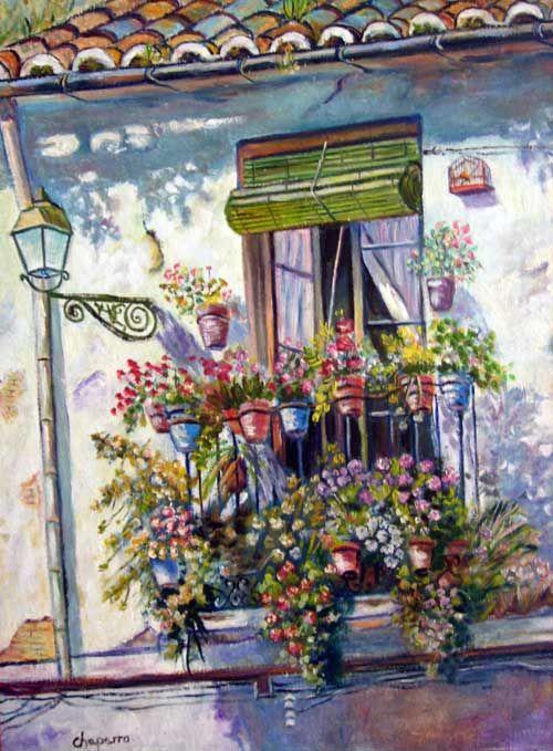 Oleos flores balcones buscar con google balcony - Laminas para cuadros baratas ...