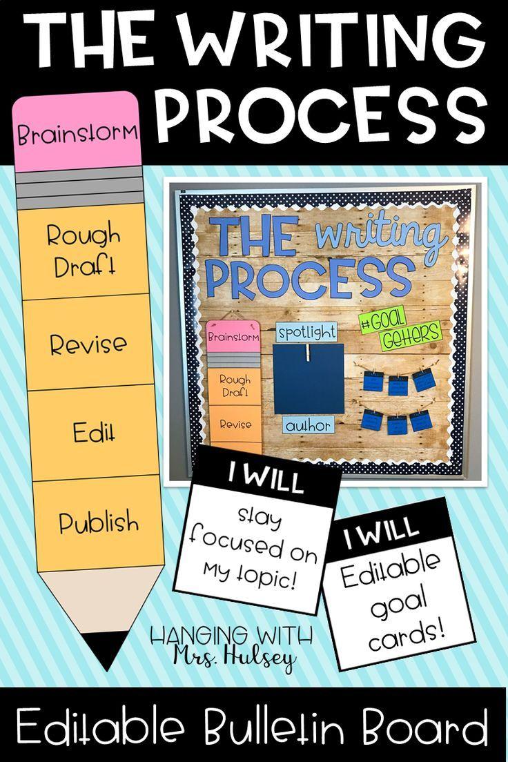 The Writing Process Editable Bulletin Board Writing Process Pencil Writing Center Bulletin Board Teaching Writing [ 1104 x 736 Pixel ]