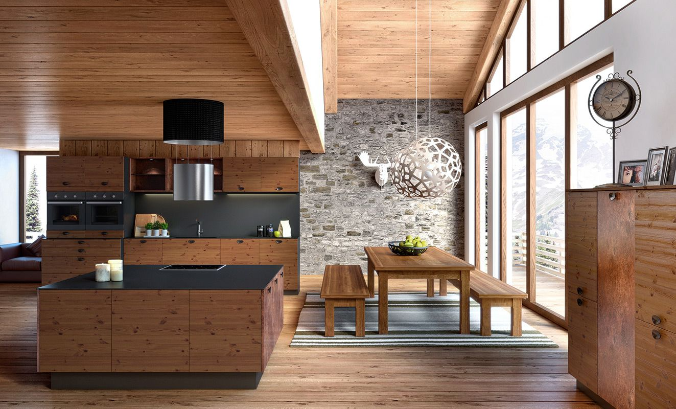 Chalet Natural Wood Look Kitchen And Living Room Decoration Interieure Chalet Cuisines Maison Maison Moderne