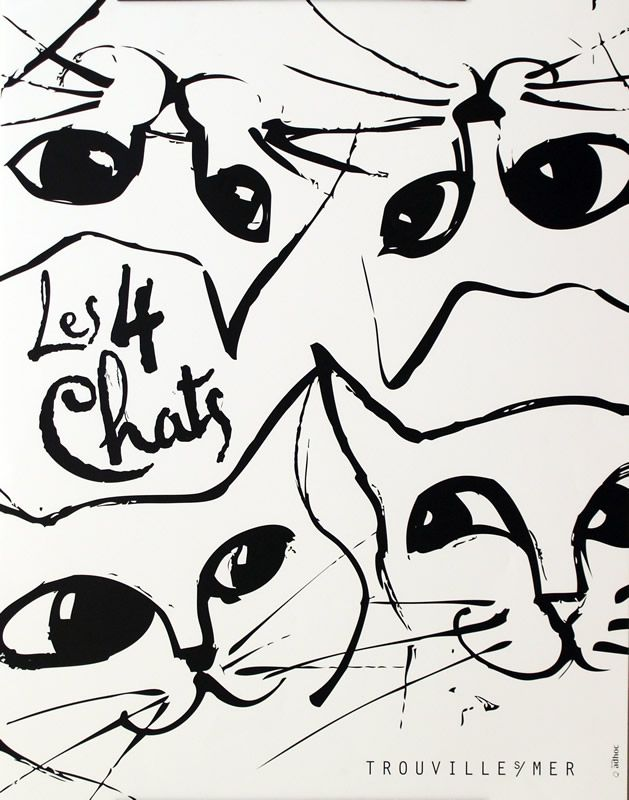 "French advertising poster for ""Les 4 Chats (The 4 Cats)""  Restaurant/Café - Trouville s/Mer, c. 1995"
