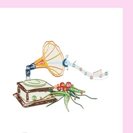 "Quilled ""any occasion"" greeting card with Gramophone, music notes and flowers on front"