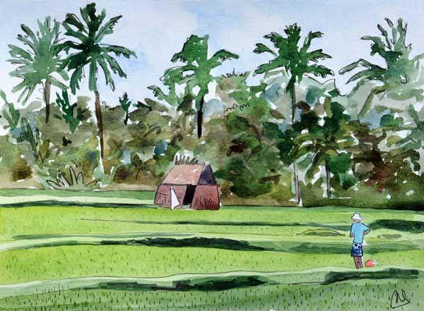 aquarelle et feutre noir Bali Astrid Vaccaro