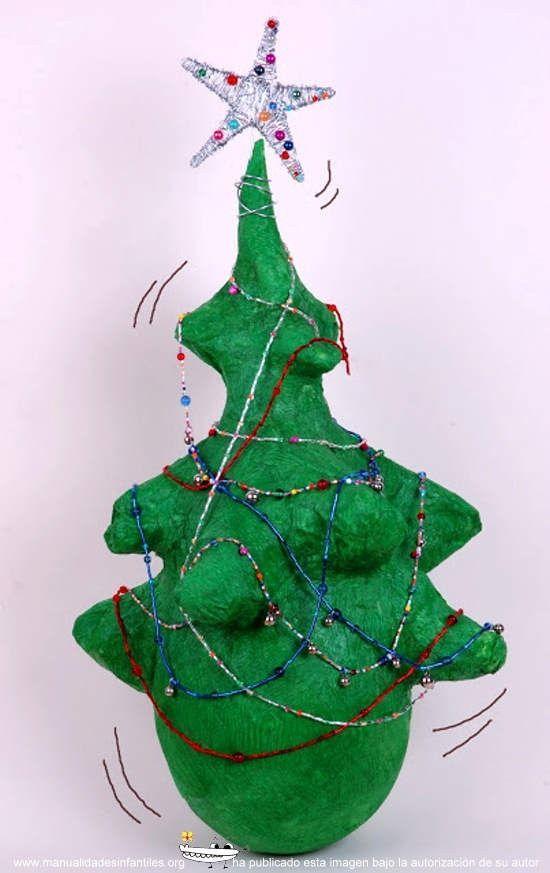 Rbol de navidad de papel mach papier mache rboles - Arboles de navidad manualidades navidenas ...
