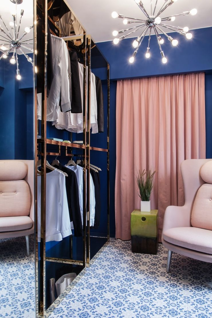 The couple designed free standing closets with a