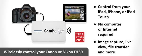 iPhone and Mac /& Windows Computers Android CamRanger Wireless Nikon and Canon DSLR Remote from iPad iPod Touch