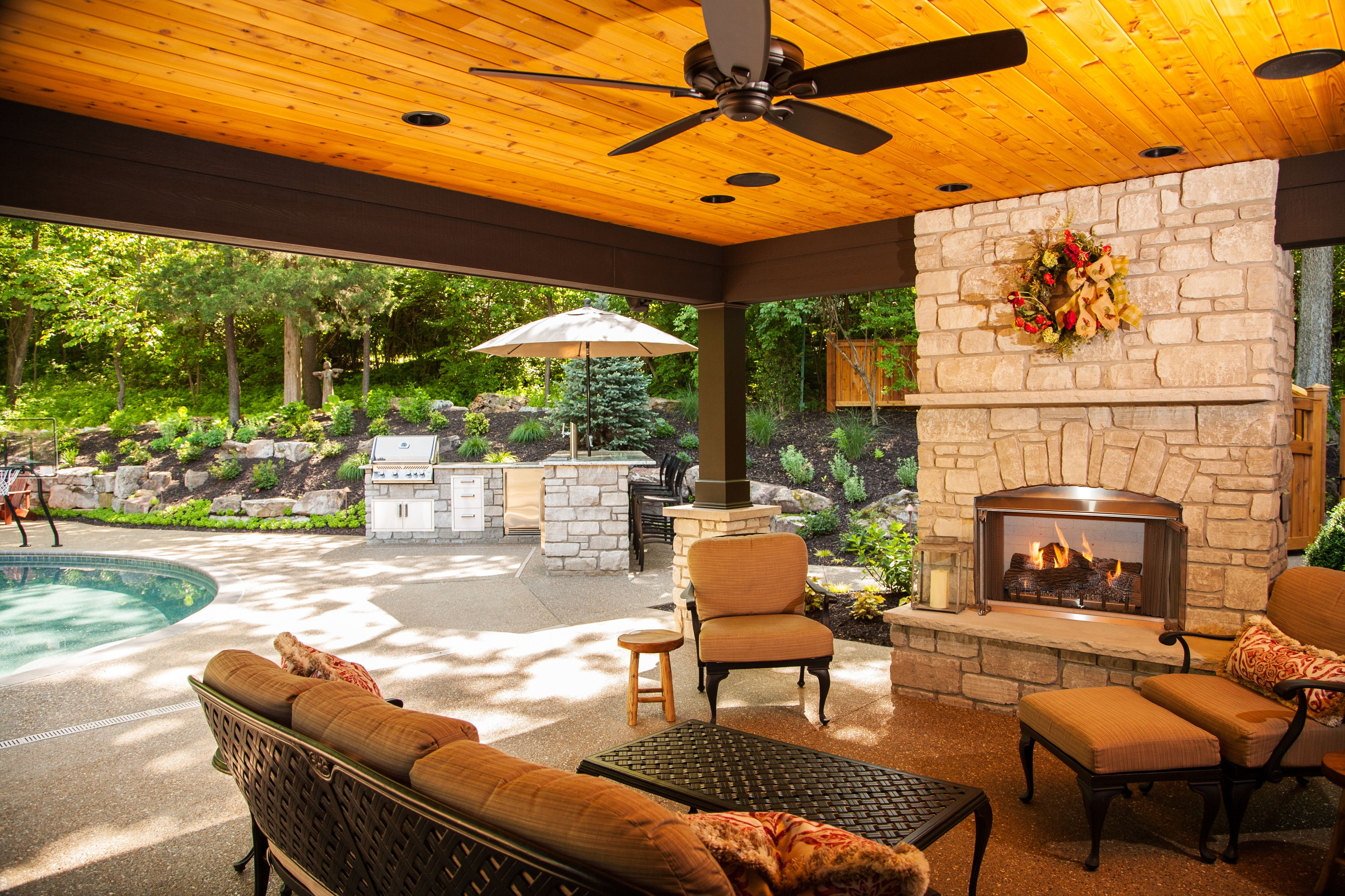 Outdoor kitchen and living space by Heartlands Building ... on Building Outdoor Living Space id=91303