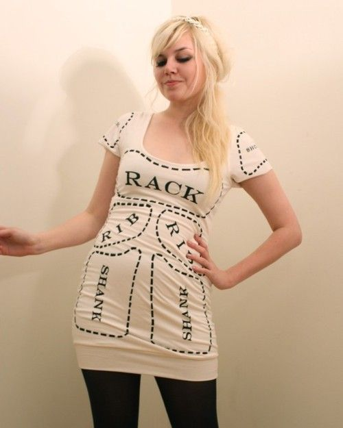 9896fd07aa Creme Cuts of Meat Screen Printed Butcher Dress MADE TO ORDER ...