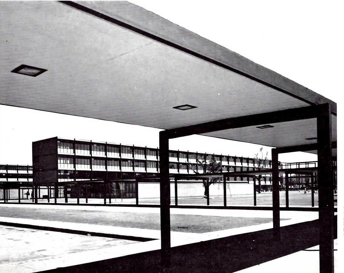 Instituto Politecnico Nacional - Zacatenco, Unidad Profesional Adolfo López Mateos, Zacatenco, Delegación Gustavo A. Madero, México DF 1962    Arq:Reinaldo Pérez Rayón -    National Polytechnic Institute - Zacatenco, Mexico City 1962