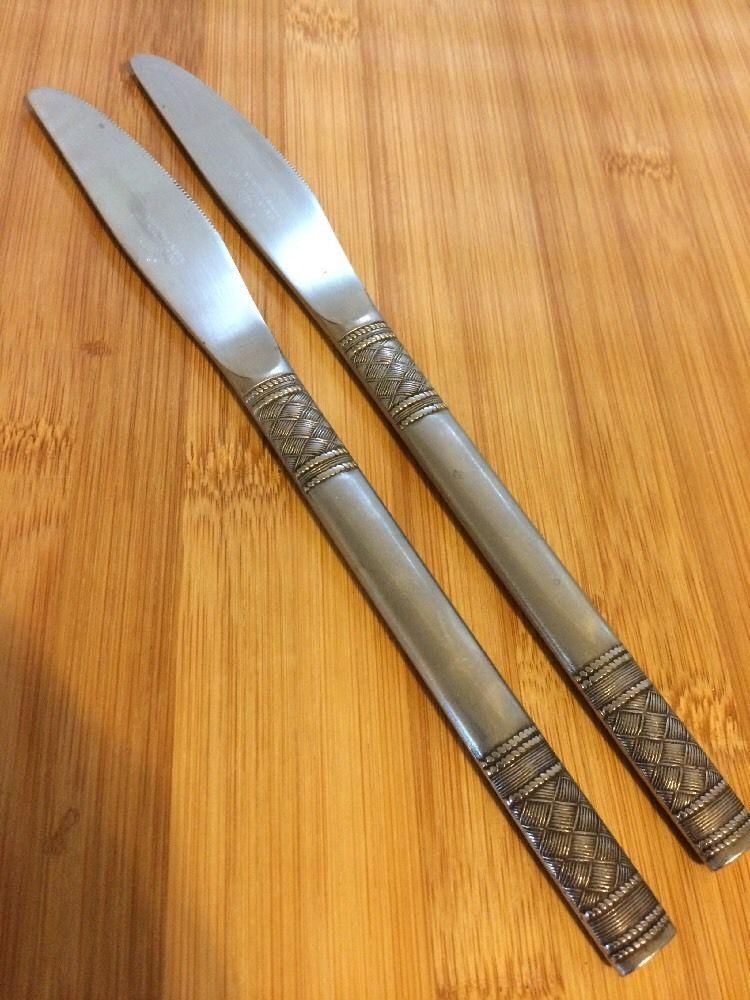 "Oxford Hall Stainless Satin Weave Crosshatch 2 Dinner Knives 8 3 4"" | eBay"