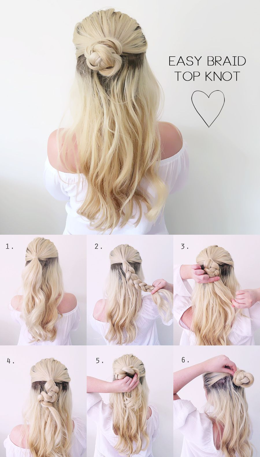 Hair tutorial very easy summer braided top knot grace and braver
