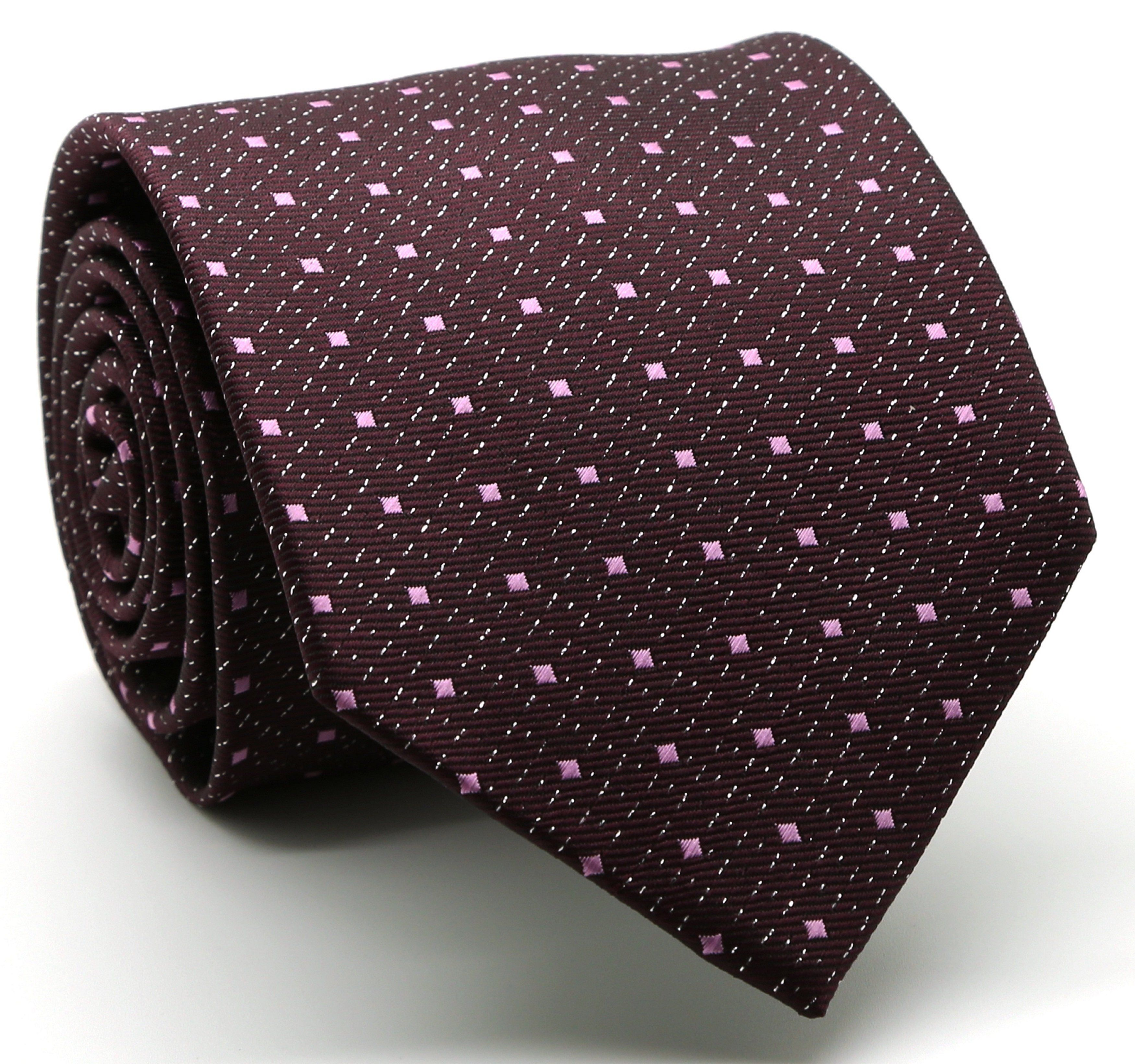 Mens Dads Classic Red Square Pattern Business Casual Necktie