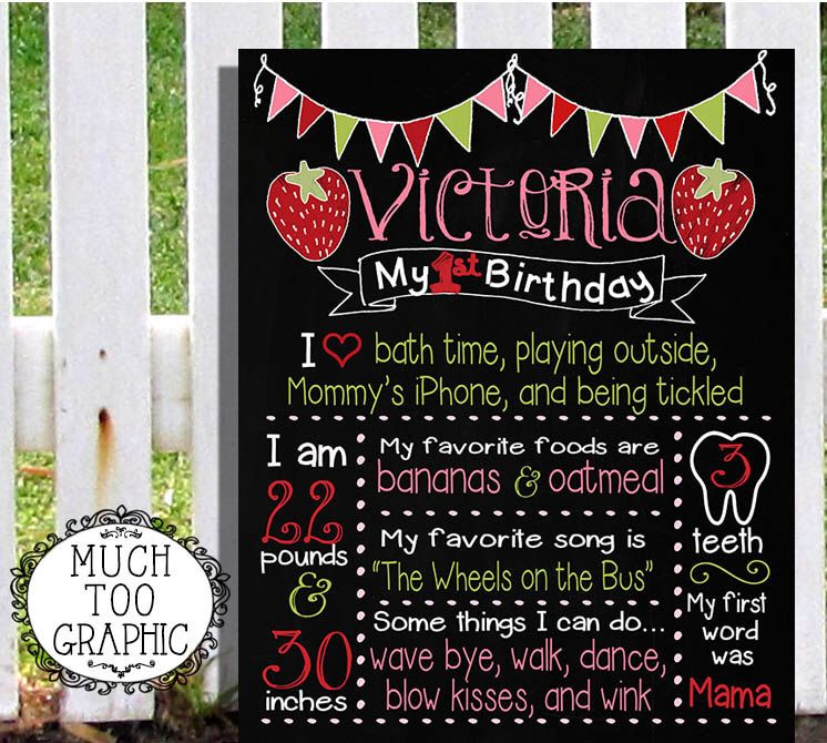 wording ideas forst birthday party invitation%0A  st First Birthday Strawberry Berry Sweet Sign w  Banner Digital Print  Custom Party Printables Personalized