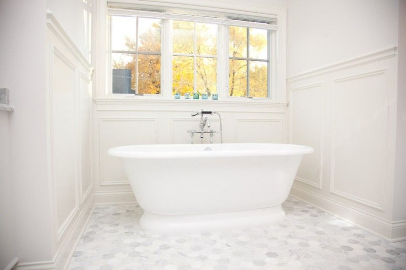 Carrera Marble Bathrooms Freestanding Tub Multiple Windows Subway - Carera marble bathroom