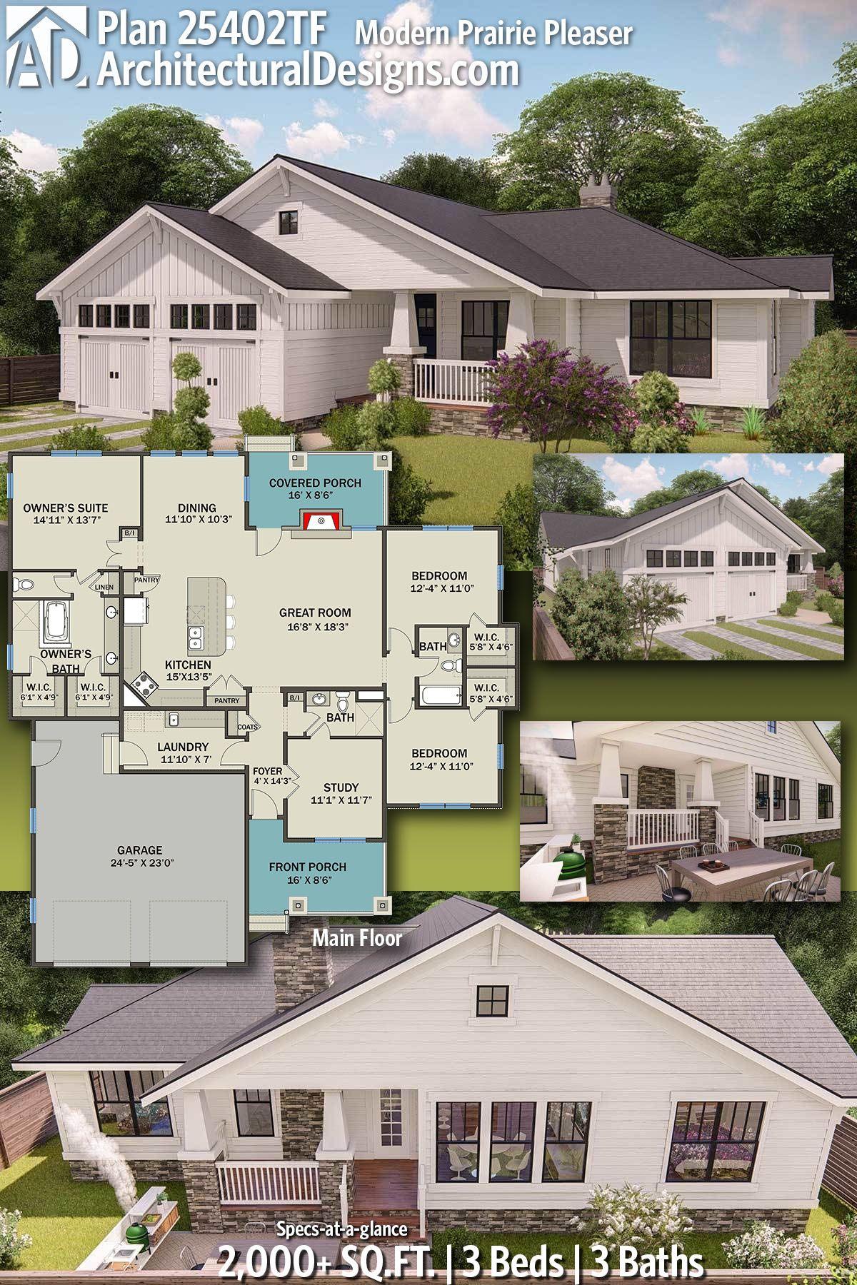 Plan 25402tf Modern Prairie Pleaser Ranch House Plans House Plans House Blueprints