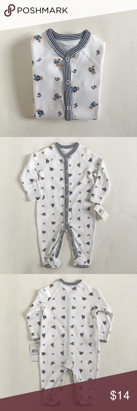 529586f61 Ralph Lauren Polo Bear Cotton Onesie Ralph Lauren Baby Boy One Piece Footie  . Brand NEW