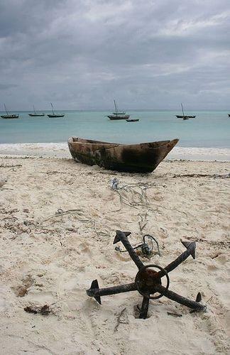 anchor + beached boat, nungwi beach, zanzibar