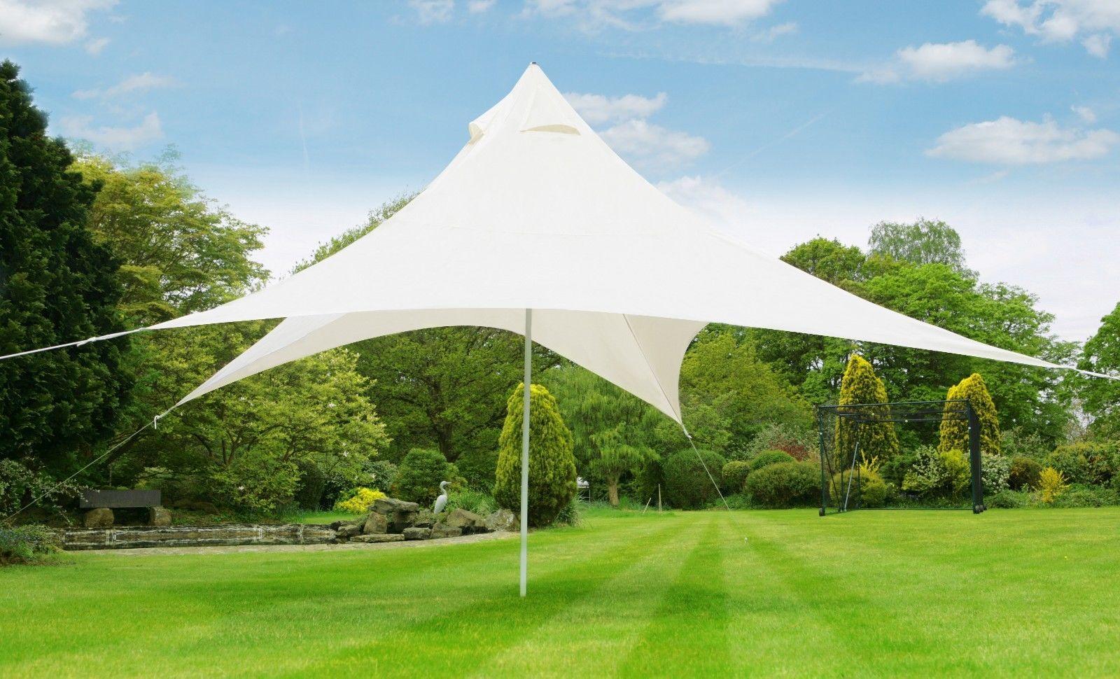 4 5m Pyramid Ivory Sun Shade Sail Kit With Pole Ropes Pegs Garden