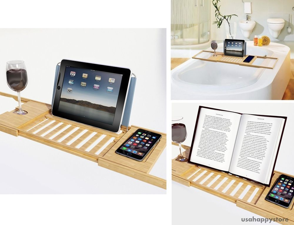 Bamboo Bathtub Caddy Tray Tablet Smartphone Cup Book Holder Jacuzzi ...