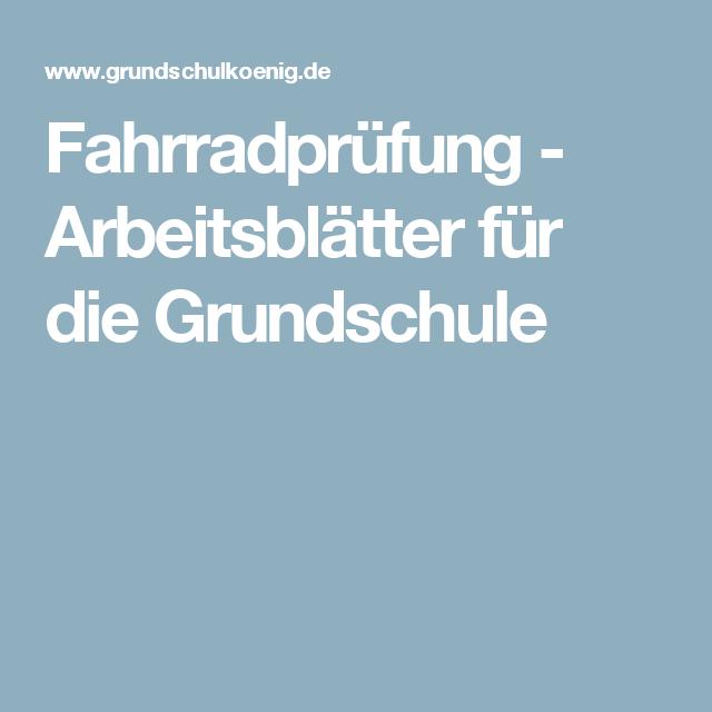 Fahrradprüfung - Arbeitsblätter für die Grundschule | Schule ...