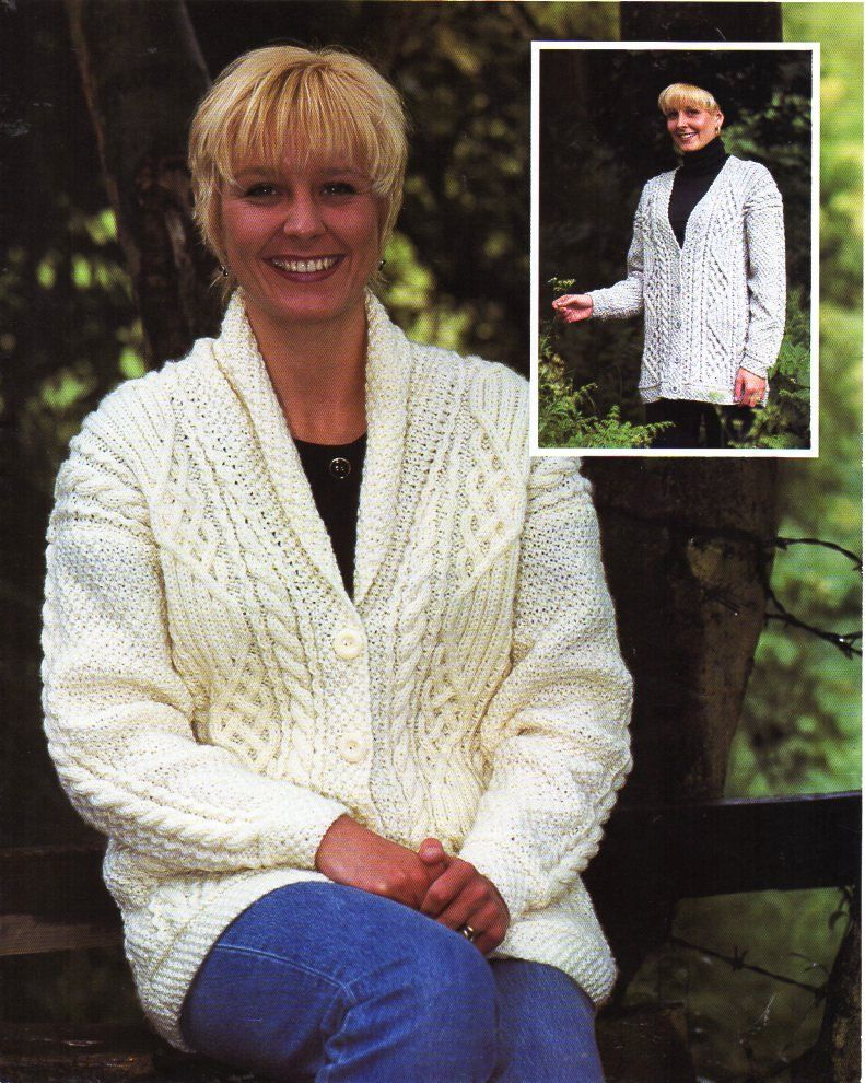 6bdf8a17e3afeb Womens Aran cardigan Womens knitting pattern PDF Download womens aran  Jacket…