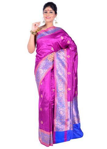 BUY SAREE ONLINE - PURPLE KATAN SAREE WITH BLOUSE | INDIAN SILK ...