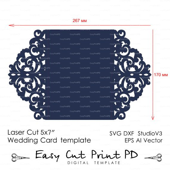 Wedding Invitation Pattern Card Template Lace Folds Studio Etsy Card Patterns Card Template Silhouette Cameo Cards