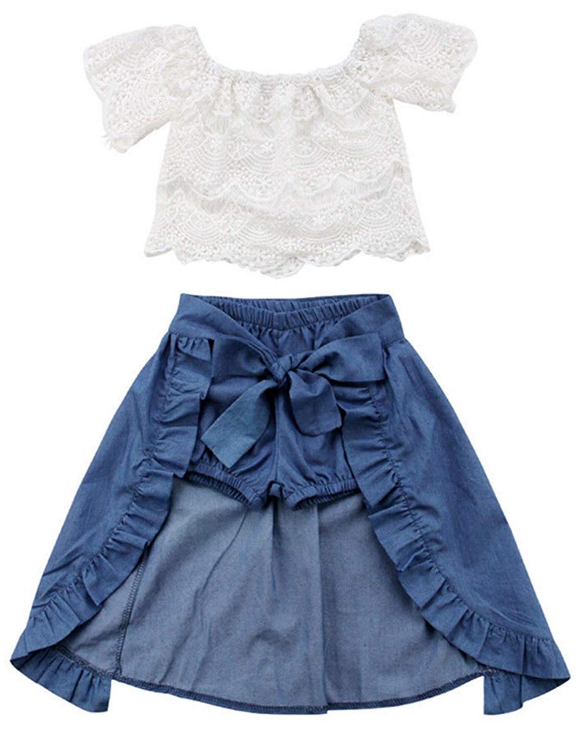 UK Toddler Kids Baby Girl Strap Tops Crop Skirt Dress 2PCS Outfit Clothes Summer
