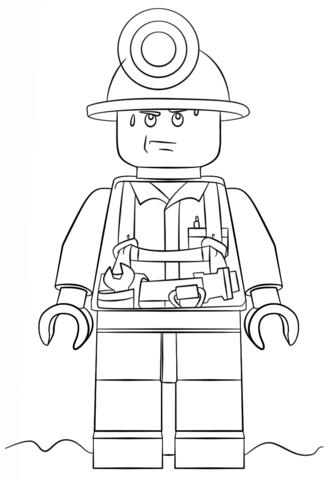 Шахтёр из серии Lego City Раскраска | Lego coloring, Lego ...