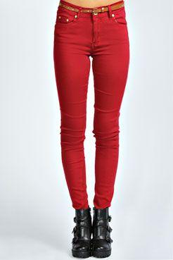 Billie Studded Belt Super Soft Jeans at boohoo.com
