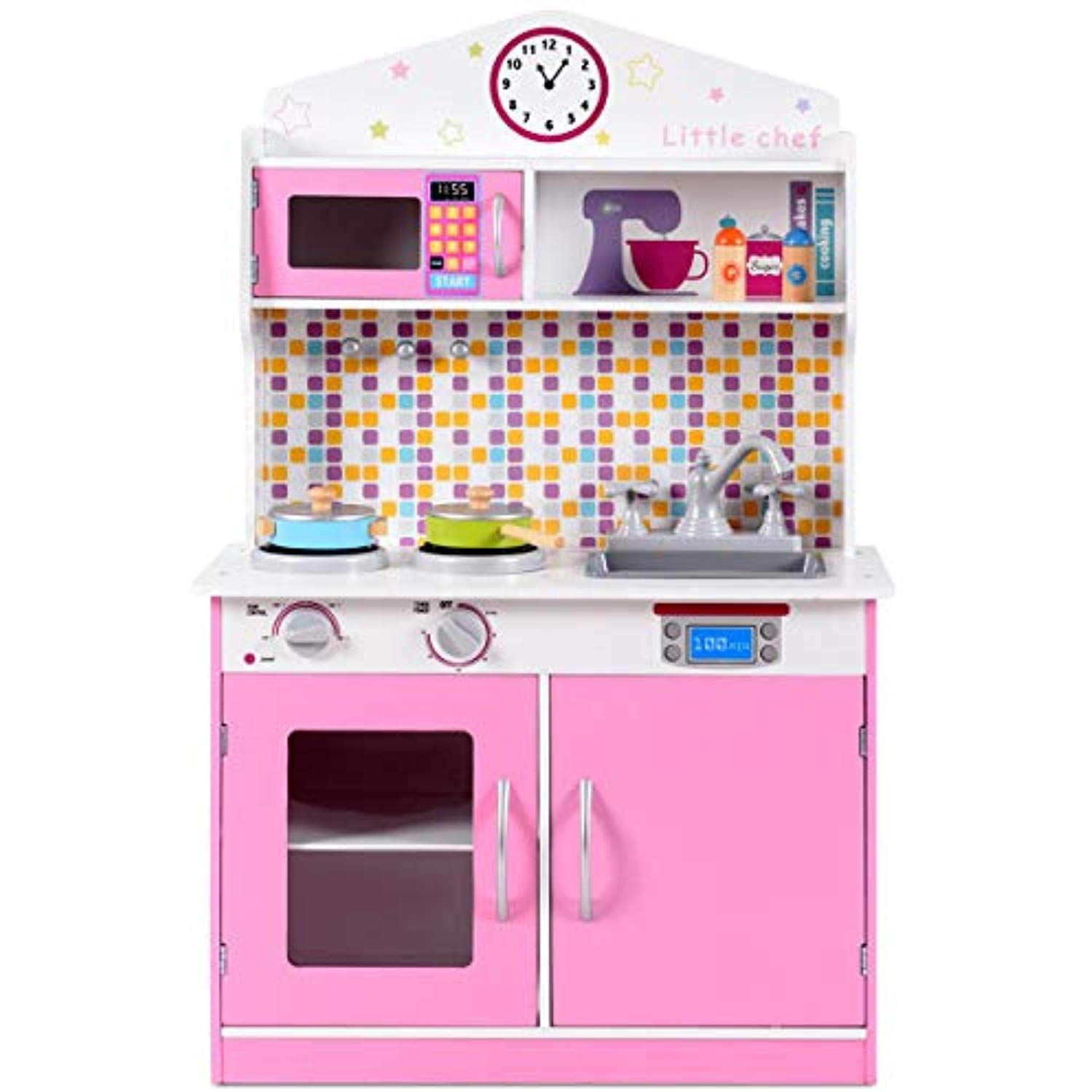 Globe House Products Ghp 22 5 X12 X37 5 Mdf Kids Wooden Little Chef Kitchen Toy Pretend Cooking Playset Check Pretend Kitchen Toy Kitchen Play Kitchen Sets