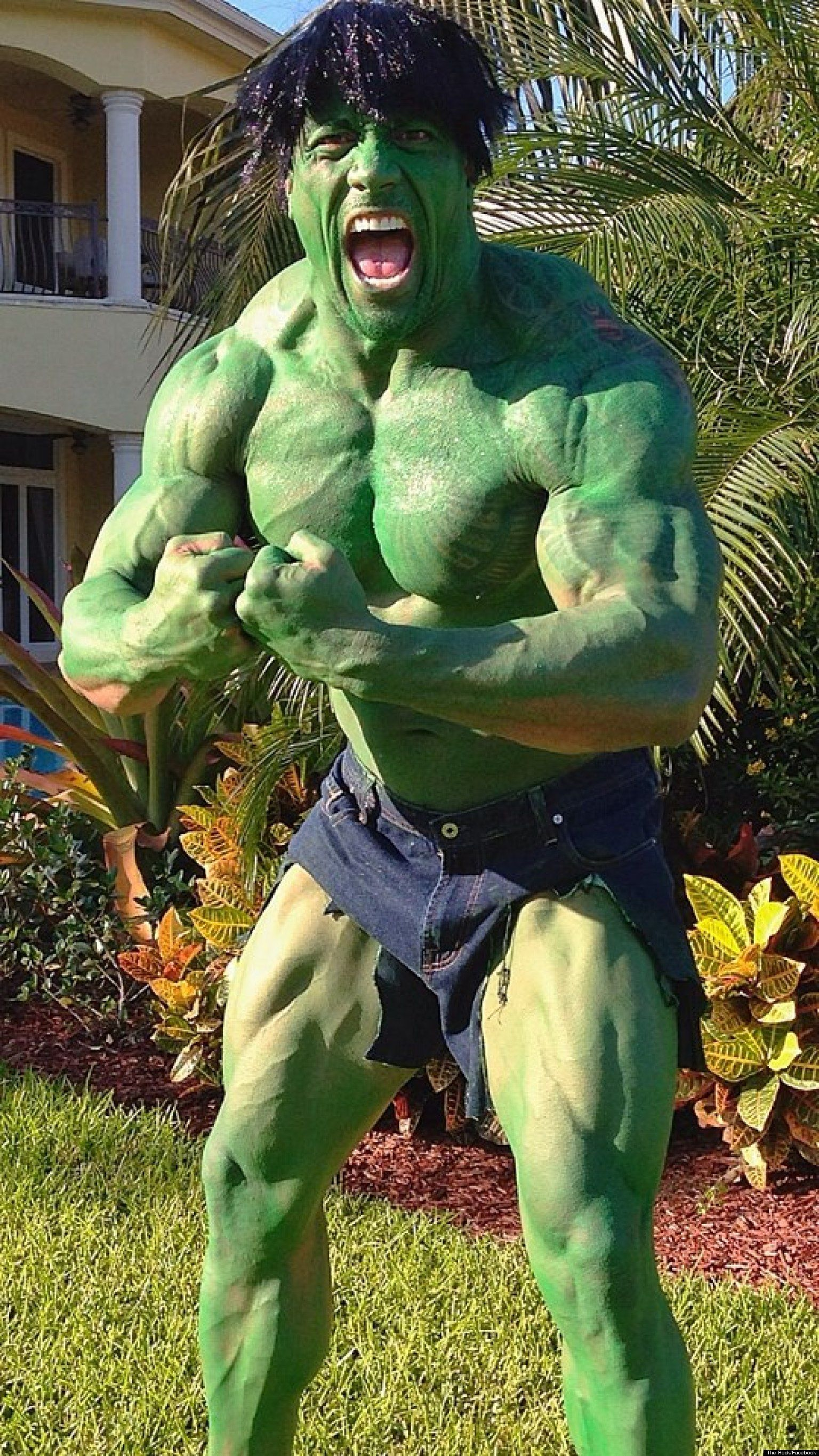 "dwayne ""the rock"" johnson as ""the hulk"" for halloween #halloween"