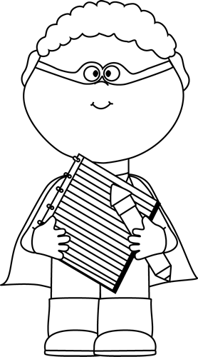 Black and White Superhero with Notepad and Pencil