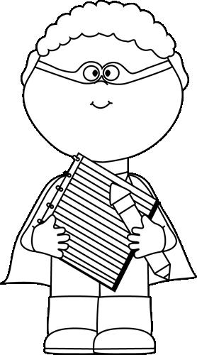 black and white superhero with notepad and pencil szuperh s k rh pinterest com