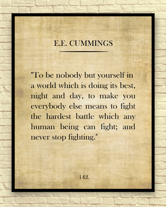 Classic Book Page, E.E, Cummings, E.E. Cummings Quote, Vintage Book Page, Book Wall Art, Book Page Art Print, Gift for Book Lovers