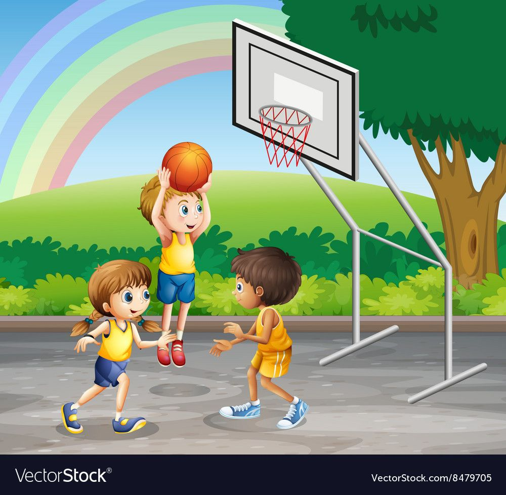 Three Children Playing Basketball At The Court Vector Image On Vectorstock Children Illustration Kids Kids Education