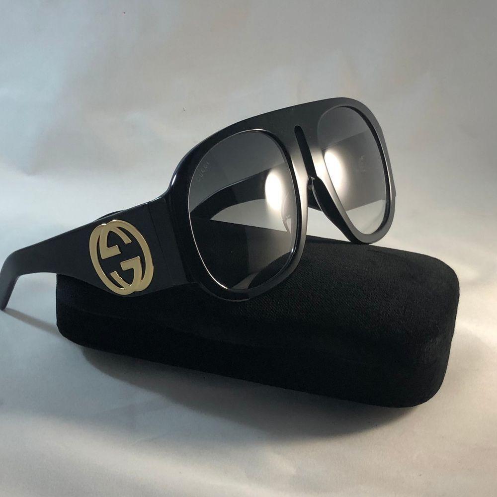 fe3206865ab Authentic Gucci GG0152S BLACK Acetate Green Lens Frame Women s Sunglasses  100%UV