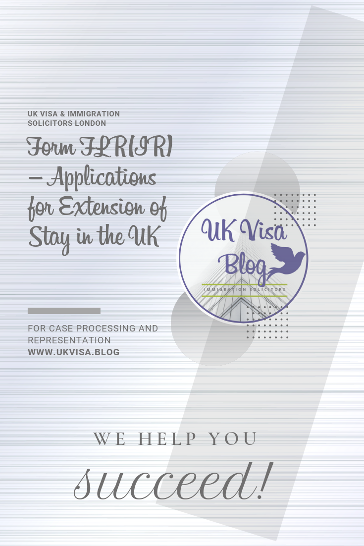 Form FLR(IR) Applications for Extension of Stay in the