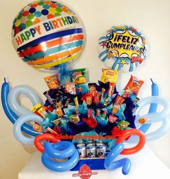 Arreglo de globos gigante cumplea os regalo para hombre regalo para caballero regalo gigante - Regalos chico joven ...