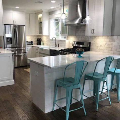 shiplap kitchen peninsula kitchen ideas in 2019 kitchen rh pinterest com