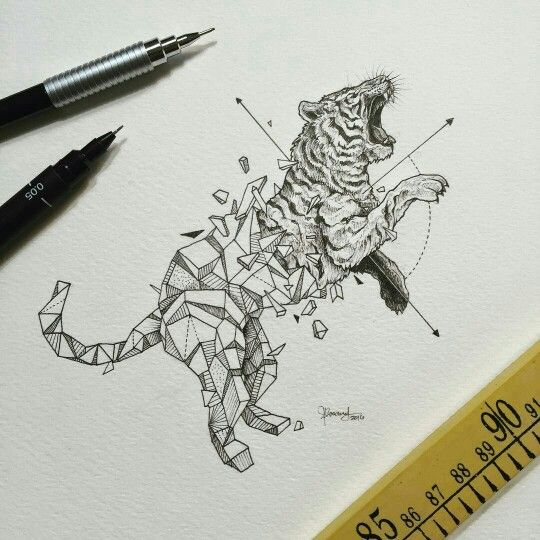 Organic To Geometric Drawing With Images Geometric Tiger