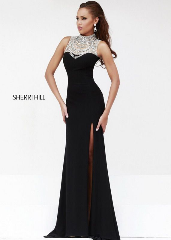 High Slit Dress | Sexy Jeweled High Neck Sherri Hill 21355 Slit ...