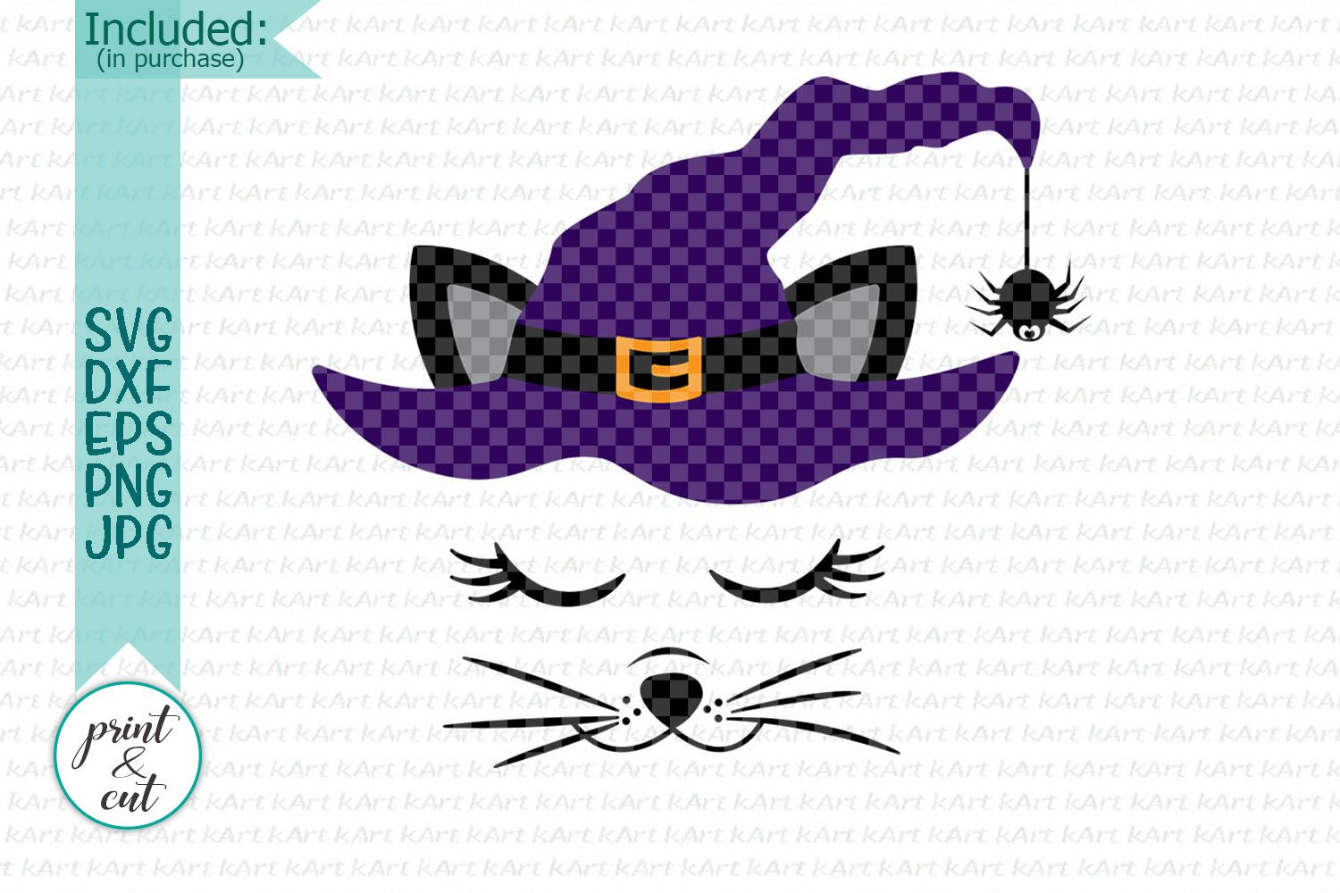 Halloween cat svg cat with witch hat svg cricut file girls