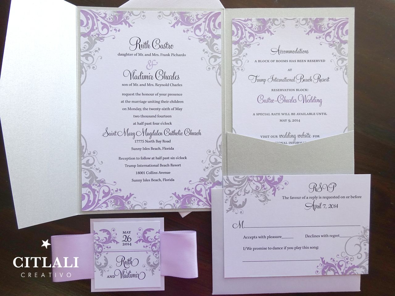 Lilac Silver Filigree Pocket Folder Wedding Invitations Ribbon