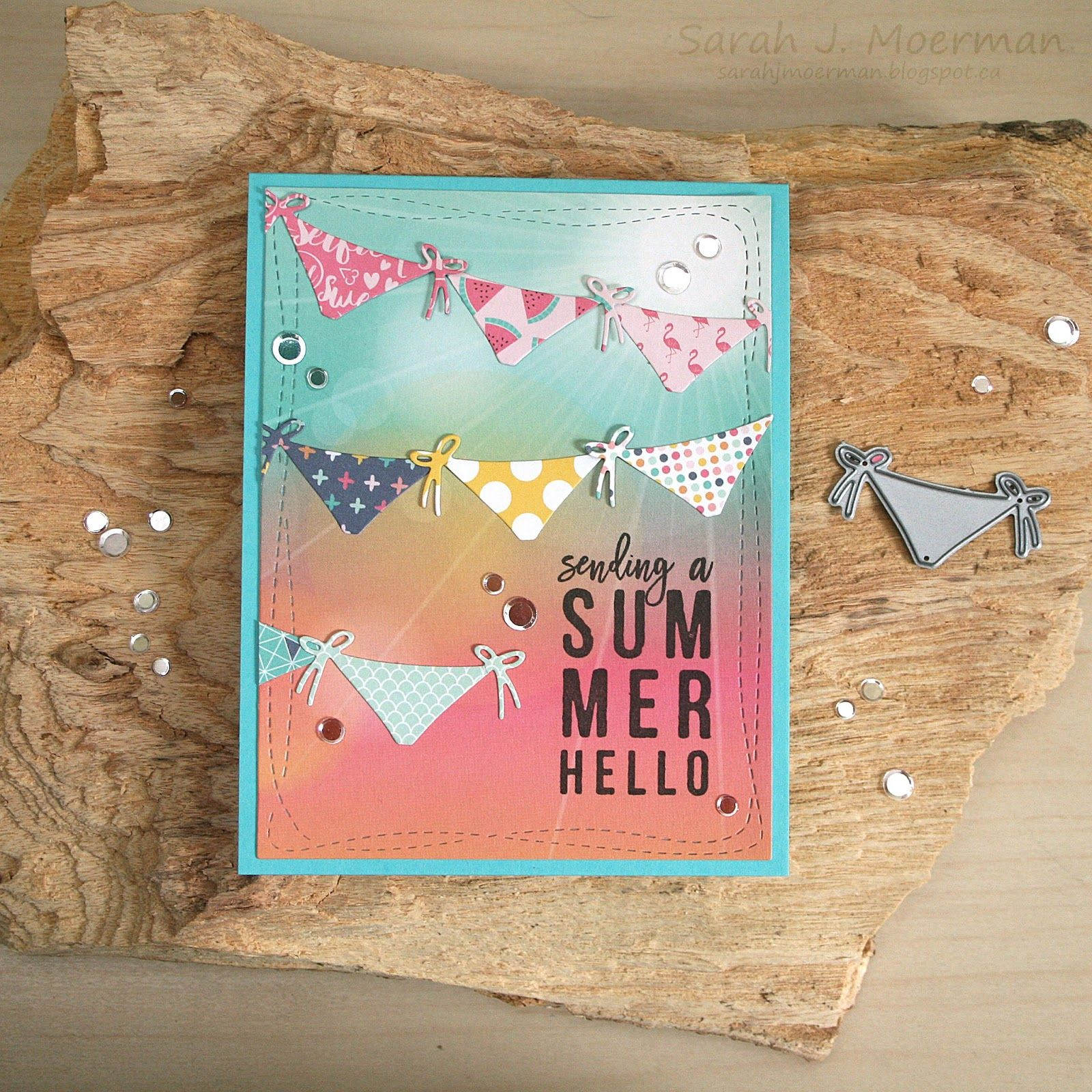 High Quality My Impressions: Simon Says Stamp July Card Kit: Summer Hello Banner Card